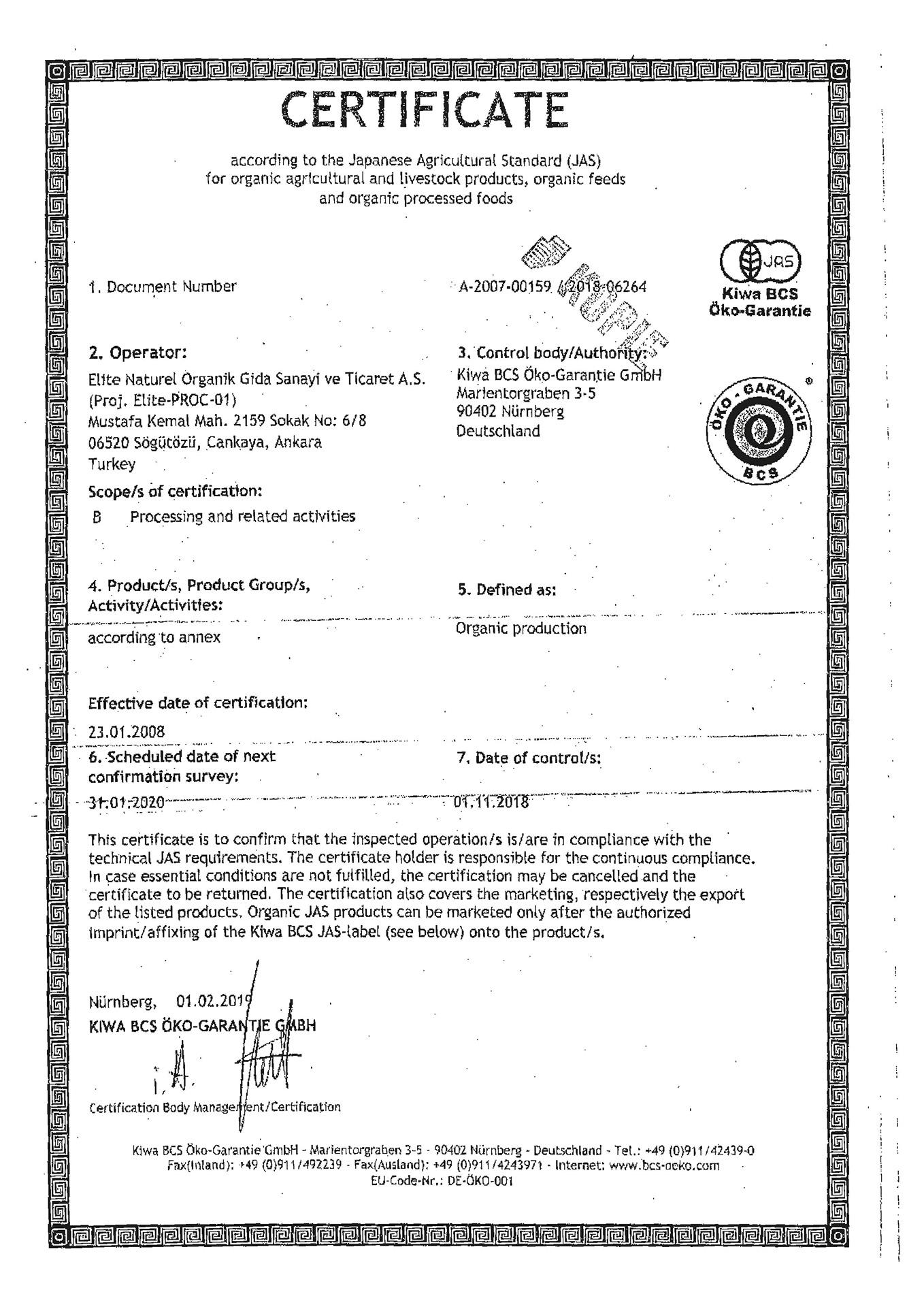 JAS japonyaorganiksertifikasi