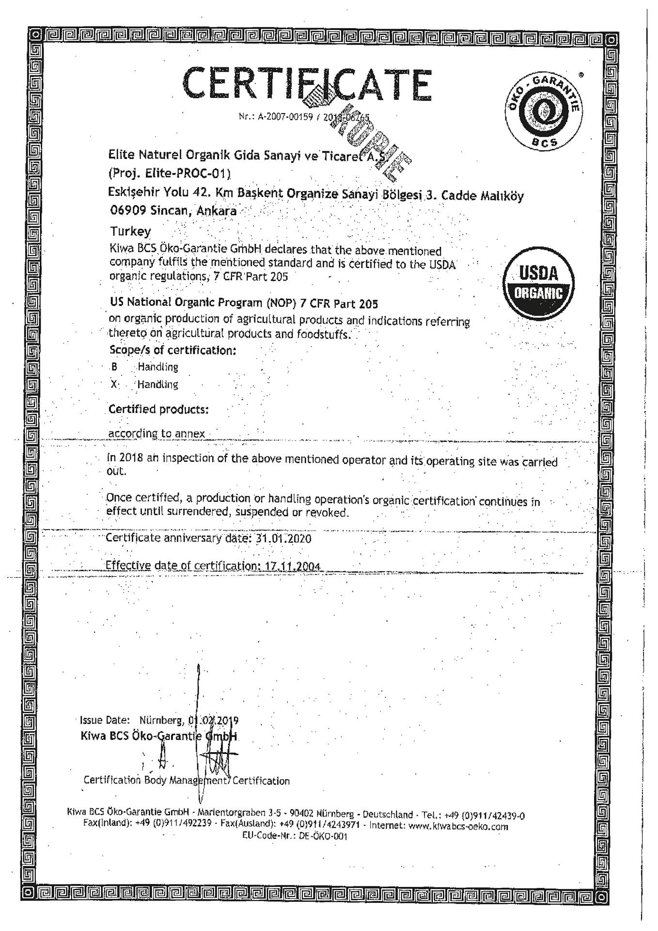 USDA ABDorganiksertifikasi
