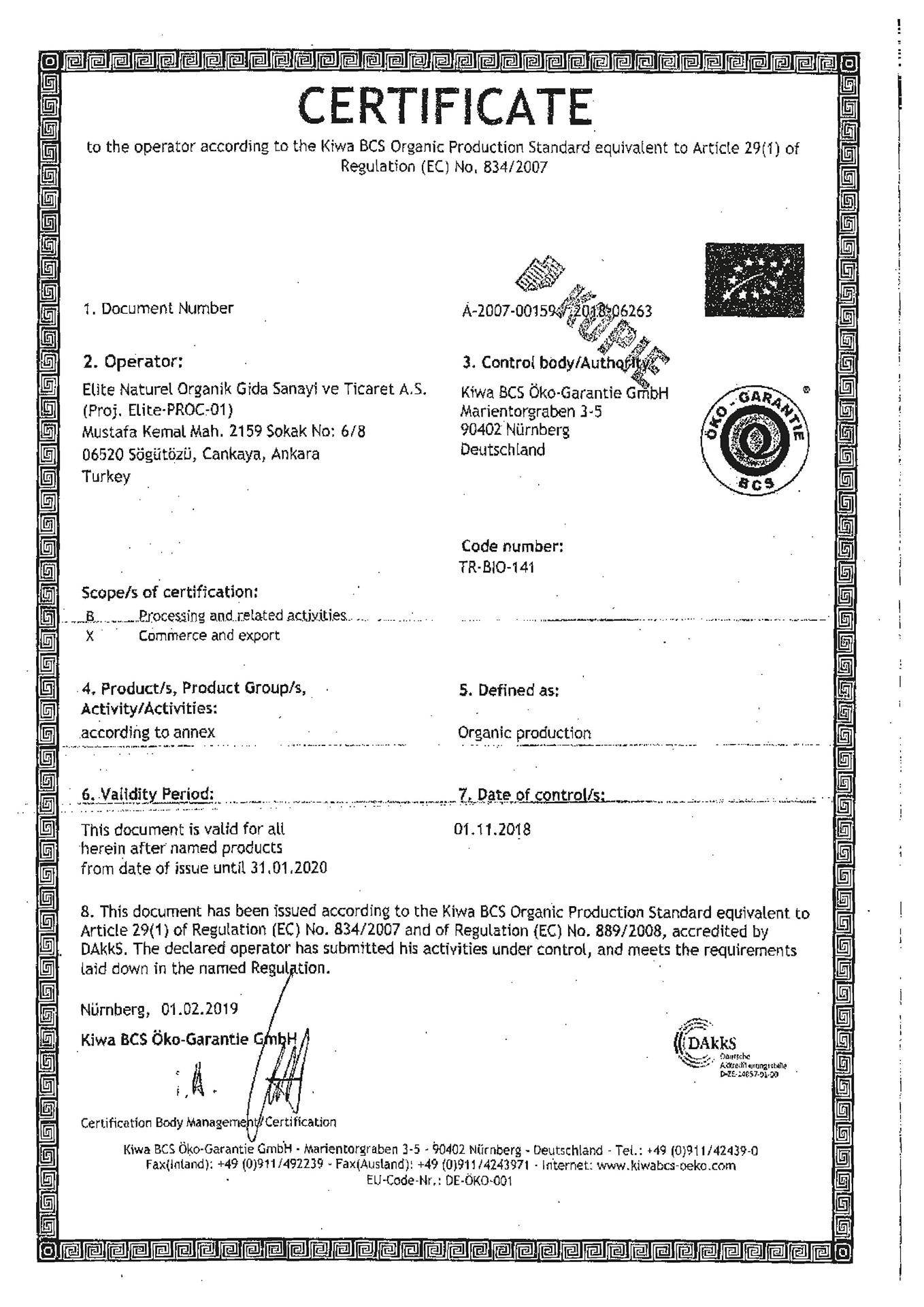 avrupa organik sertifikasi