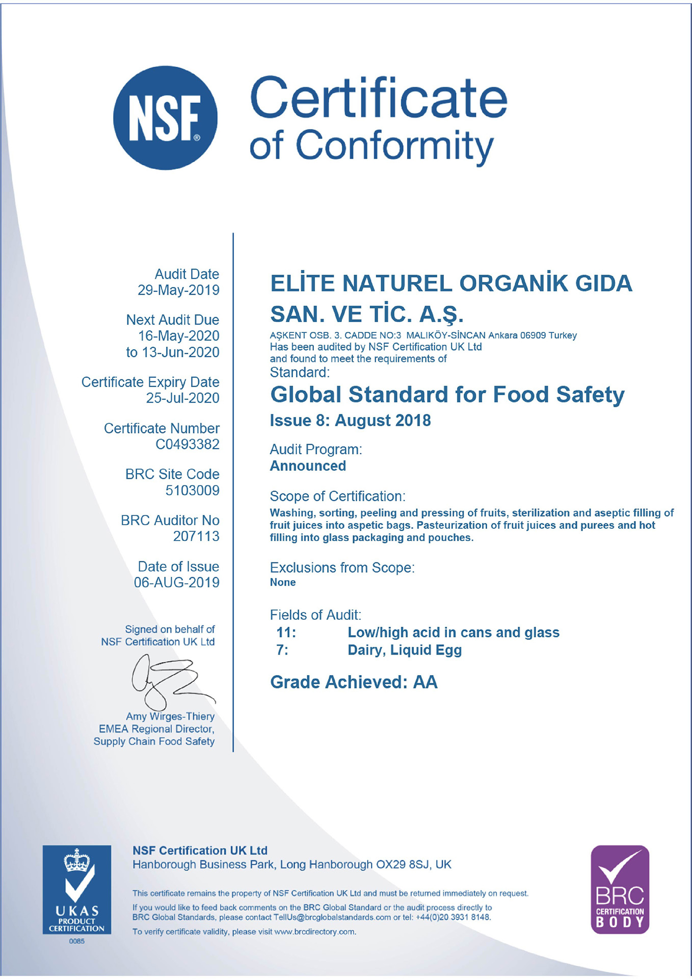brcbody gida guvenligi sertifikasi