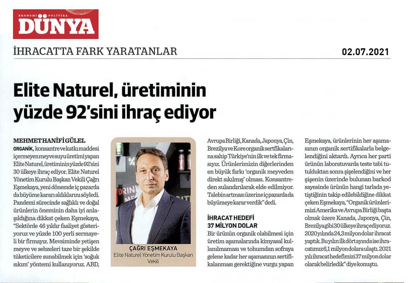 Dunya Gazetesi ihracat eki 02 07 2021 1 1